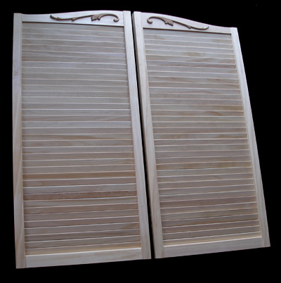 Pine Cafe Doors Louvered - scroll